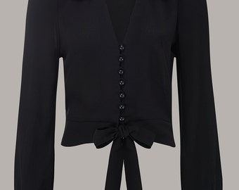 Clarice Blouse in Black by The Seamstress of Bloomsbury | Authentic Vintage 1940's Style