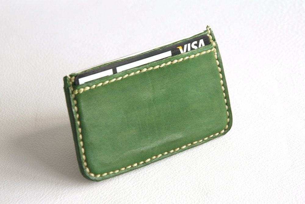 Green business card holder Leather Card Holder Card holder