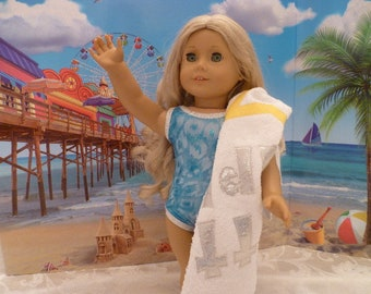 "18 Inch Doll One Piece Blue Bathing Suit & Towel, Hand Made Swim Suit and ""Atta Girl!"" Beach Towel fits 18 Inch American Girl Dolls"
