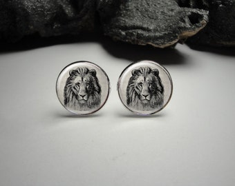 Lion Cuff Links 20mm/ Lion Cufflinks for Him/Men Gift/Gift for Him/ Lion Tie Clip