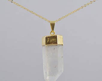 Quartz Crystal Gold Dipped Point Necklace, Sterling SIlver Large Quartz Point Necklace, Long Necklace, Layering Necklace, Raw Crystal Point