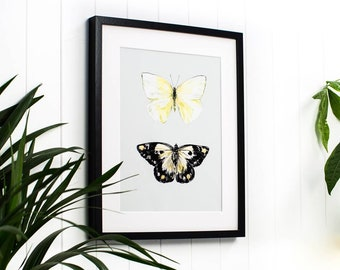 Hand Embossed With Gold Butterfly Print