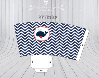 Nautical popcorn box printable, candy box, birthday party printable, Sailboat popcorn box, Birthday printable, blue nautical popcorn box