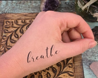 "Temporary Tattoo - ""Breathe"" - Yoga Tattoo - Mantra Tattoo - Word Tattoo - Mindfulness Tattoo"