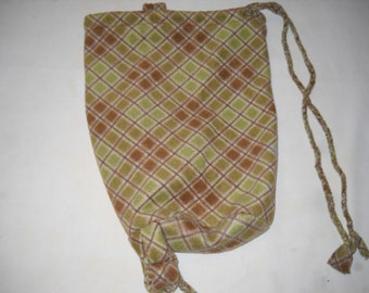 LARGE Soft PLAID One-Strap BACKPACK