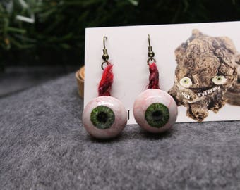 Green Eyeball Earrings