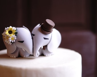 ELEPHANT Wedding Cake Topper - Sunflower & Daisy bouquet for bride -  Warranty Protection Included