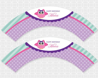 Party Printable Owl Theme Party Cupcake Wrappers - personalized printable - owlette, purple, stripes