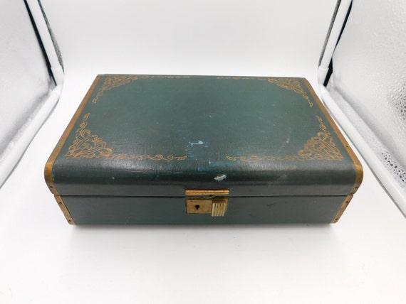 1950s Vintage Turquoise Farrington Jewelry Box Genuine