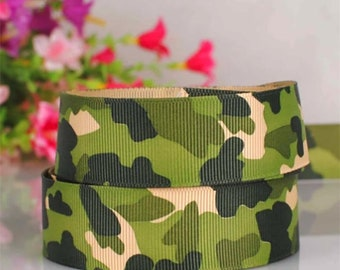 """Green Camouflage Printed Grosgrain Ribbon 1"""" Wide Scrapbooking HairBows Parties DIY Projects GC4118"""