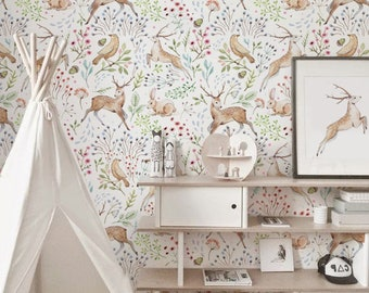 Superior Woodland Wallpaper, Light Woodland Animals Wall Decor, Nursery Woodland  Wall Mural, Animals,