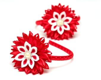 Red Kanzashi  flower headband. Kanzashi. Kanzashi headpiece. Red, white kanzashi