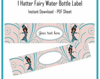 Digital Hatter Fairy Bottle Label - PDF - Download - Print - Birthday - Party - Customize - Personal - Commercial