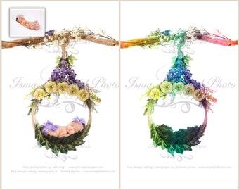 Digital backdrop - Newborn Hanging Circle Design - Beautiful Digital background for Newborn Photography - Props download