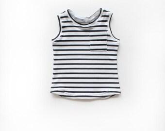 Black and White Stripe Pocket Tank / Unisex Shirt / Boys Girls Tank Top / Toddler Kids Shirt / Kids Clothes / Kids Tank / Monochrome Clothes