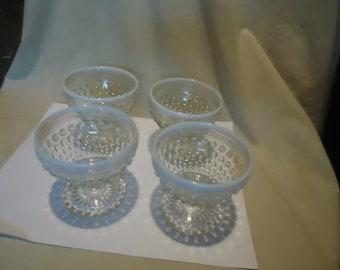 Vintage Moonstone Opalescent Hobnail Glass Set Of 4 Sherbets, collectable