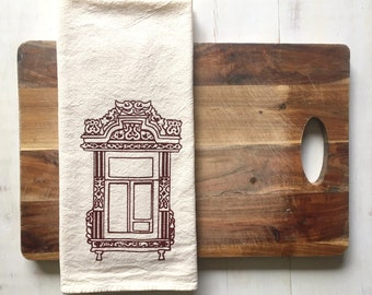 Flour Sack Towel (Unbleached) - Kostroma Russian Window (Dark Red) - Hand Screen Printed