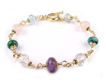 Gold Serenity Prayer Bracelet Bracelet Crystal Healing Bracelet for Serenity, Acceptance, Change, Courage, Wisdom