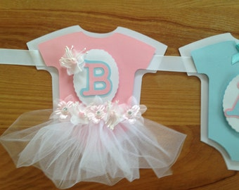 Tutu Onesie Baby Party Banner baby shower Gender Reveal Nursery Decor