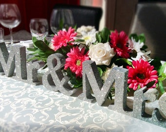 Mr & Mrs silver wedding sign, wedding venue decor, top table decorations, Wooden Wedding letters, Sweetheart table, wedding decoration