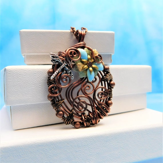 Dragonfly Necklace Unique Jewelry Gift for Wife Woven Wire Pendant Copper Wrapped Artisan Crafted Artistic Handmade Present for Girlfriend