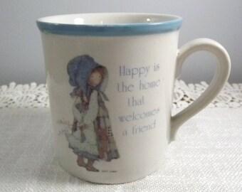 Vintage Holly Hobbie Blue Girl Stoneware Coffee/Tea Mug, Designer's Collection Made in Japan