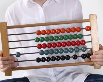 Vintage Wooden ABACUS, Educational wooden Counting Frame, Calculator school, Rainbow beads Learning Game, Made in CANADA
