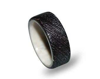 Sand Blasted Wenge Wood Ring for Men, Wooden Ring with Deer Antler, Antler Ring for Men