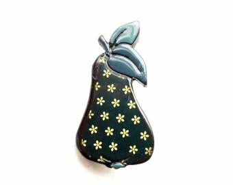 Vintage plastic pear brooch #01