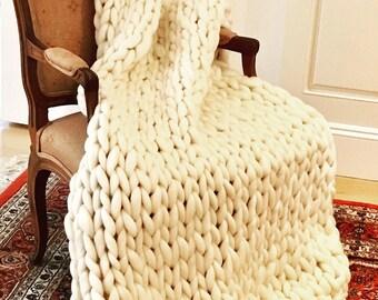 Handknit Merino Wool Throw