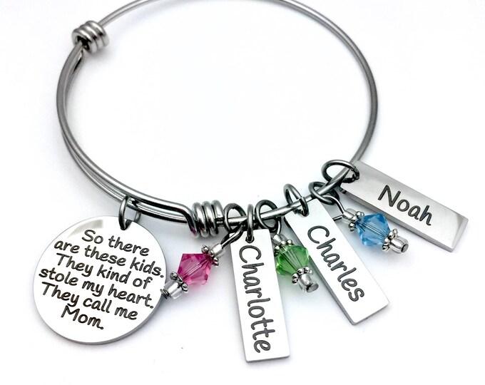 These Kids Stole My Heart Customized Bangle Bracelet, gift for mom, gift for grandmother, bracelet with children's names, bracelet gift set