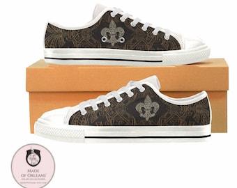 Canvas Sneakers / Converse Style Low Top / Fleur de Lis / Black and Gold / Custom