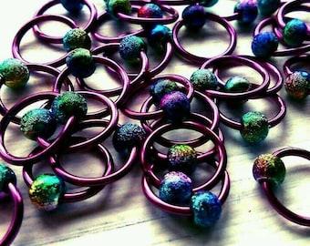 20 Knitting stitch marker rings Purple Stardust  6mm