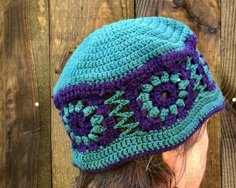 Bucket Hat, Free Shipping, Festival Clothing, Unique Handmade Boho Crochet Cotton Sun Hat, Turquoise Purple Crochet Summer Hat