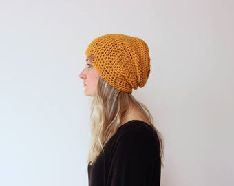 Mustard - ACRYLIC Soft Light Weight Slouchy Beanie