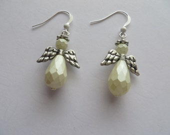 Handcrafted 925. Sterling Silver White Angels Earrings