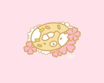 Hanami Cat Donut Enamel Pin PREORDER, 30mm, Hard Enamel, Gold, Pink, Green, Pastel, Cute, Kawaii, Japan, Sakura, Flowers, Rabbit, Sweet