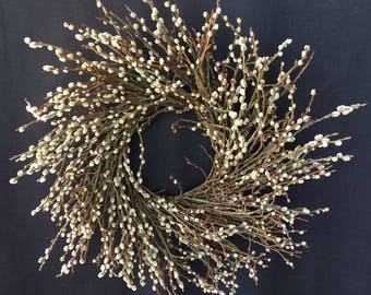 Wreath, Free Shipping Wreath, Pussy Willow Wreath, Dried Wreath, Indoor Wreath, Rustic Wreath, Natural Decoration