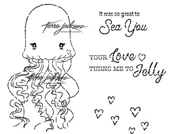 Lovebug Jellyfish with 2 sentiments digital stamp by Tierra Jackson