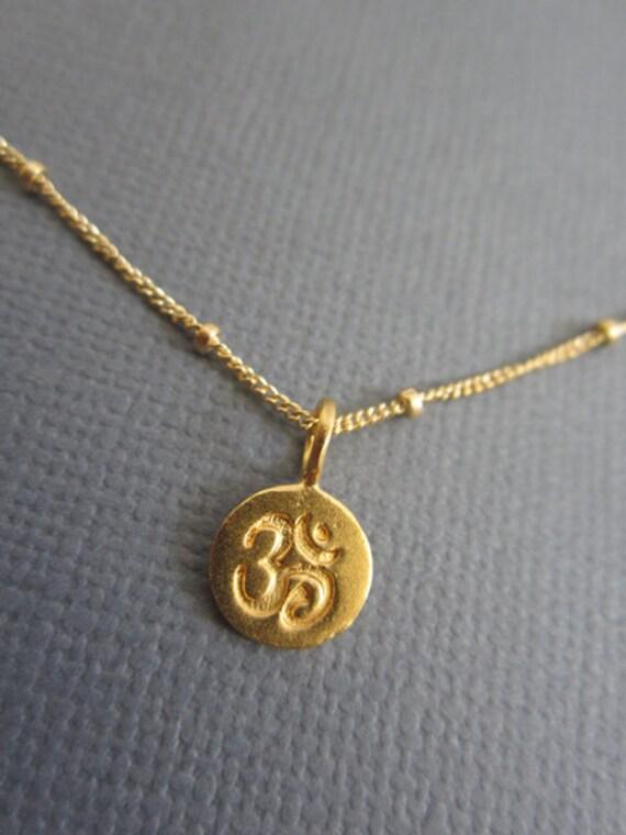 Om necklace tiny om pendant necklace gold om charm on 14k aloadofball Image collections