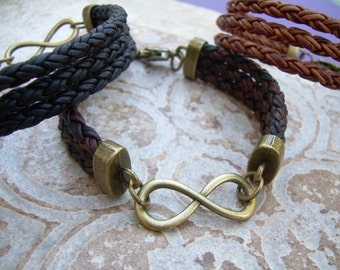Infinity Leather Bracelet with Antique Bronze Hardware, Infinity Bracelet, Infinity, Mens Bracelet, Womens Bracelet,
