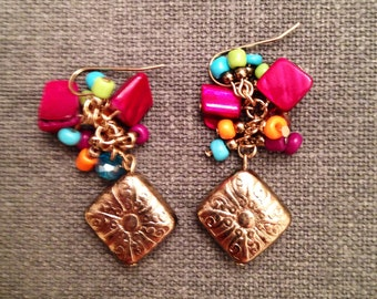 Colorful gold beaded drop earrings