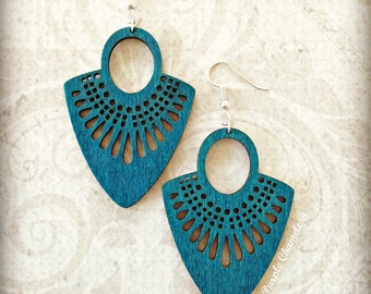 Teal Wood Fan Earrings Boho Gypsy African Tichel Accessory Earrings Large Wooden Lightweight Earrings Ankara Wrap Accessory