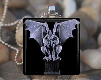 GARGOYLE MOON STATUE Gothic Goth Halloween Bat Glass Tile Pendant Necklace Keyring design 2
