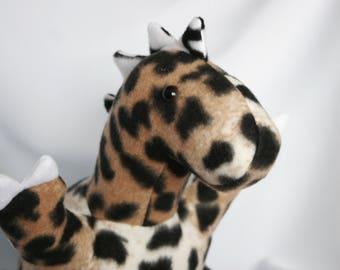 Leopard Print Dinosaur Stuffed Animal, ready to ship