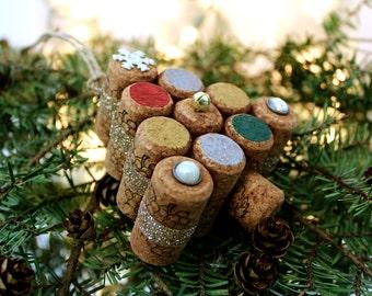 Cork Tree Ornament - Cork Ornaments - Wine Decor - Christmas Decor - Wine Gifts - Cork Decor - Handmade Ornaments - Christmas Ornaments