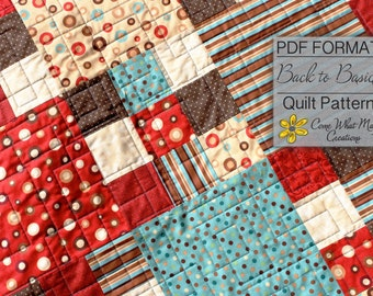 Nine Patch Baby Quilt Pattern, Fat Quarter Quilt Pattern, Back to Basics, Lap Quilt Pattern, Beginner Quilt Pattern, Easy Quilt Pattern, PDF
