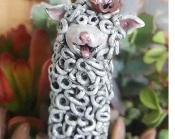 Garden Plant Stake - Little Girl Lamb