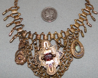 Altered art steampunk antique bookchain necklace 10K ruby opal One of a Kind