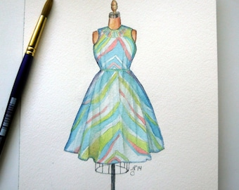 Vintage Summer Dress Watercolor Painting - Wavy Dress on Mannequin Original Watercolor Painting, 8x9